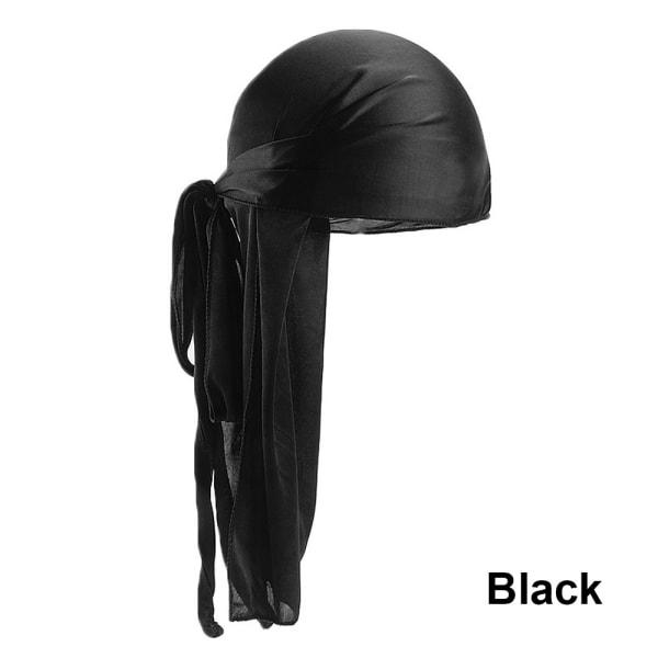 Bandana Silk Durag Pirate Hat BLACK