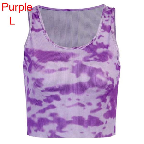 Camisole Tank Camouflage Vest Tanks Tops PURPLE L Purple L