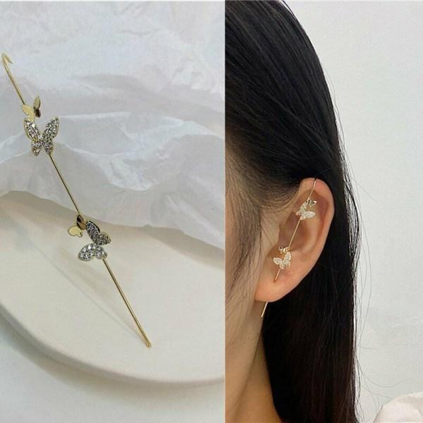 Ear Wrap Crawler Hook Earrings Boho TWO BUTTERFLIES