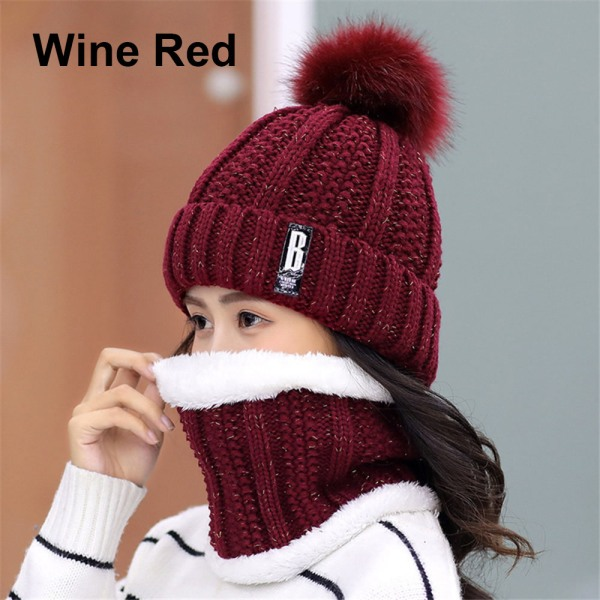 Hat Scarf  Set Snow Ski Cap Beanies Hats WINE RED