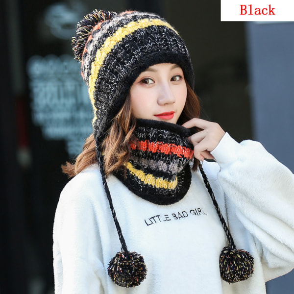 Hat Scarf Set Snow Ski Cap Winter Warm BLACK