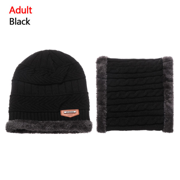 Scarf Hats Set Knitted Cap Beanie Hat BLACK ADULT
