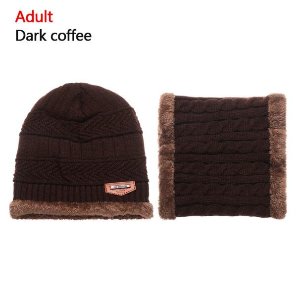 Scarf Hats Set Knitted Cap Beanie Hat DARK COFFEE ADULT