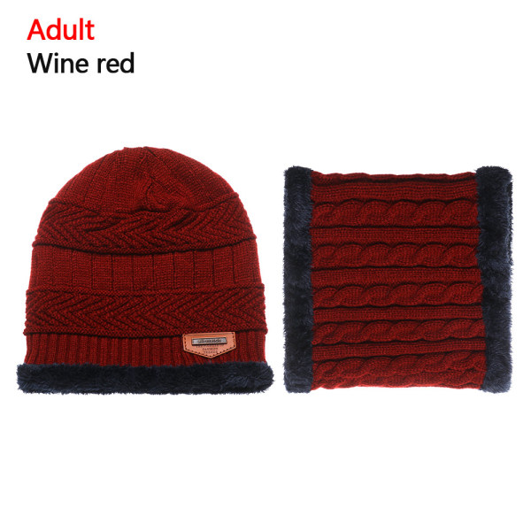 Scarf Hats Set Knitted Cap Beanie Hat WINE RED ADULT