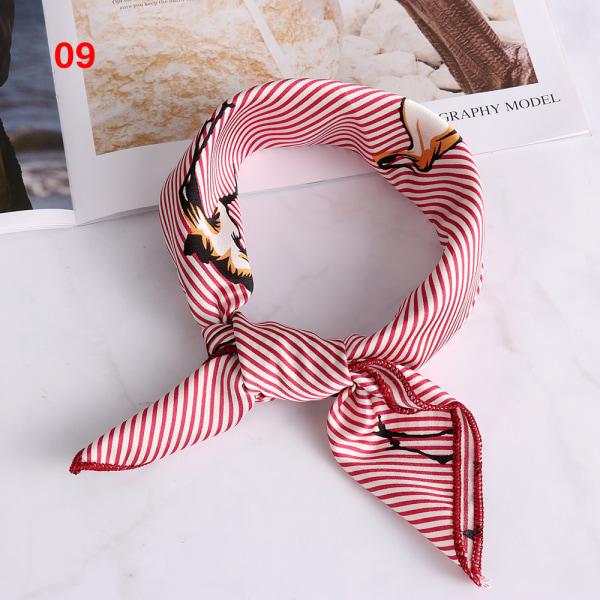 Kvinnors fyrkantiga halsduk Silk Feel Satin näsduk FÄRG 09