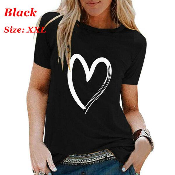 Womens Summer Shirts Short Sleeve T Shirt BLACK XXL black XXL