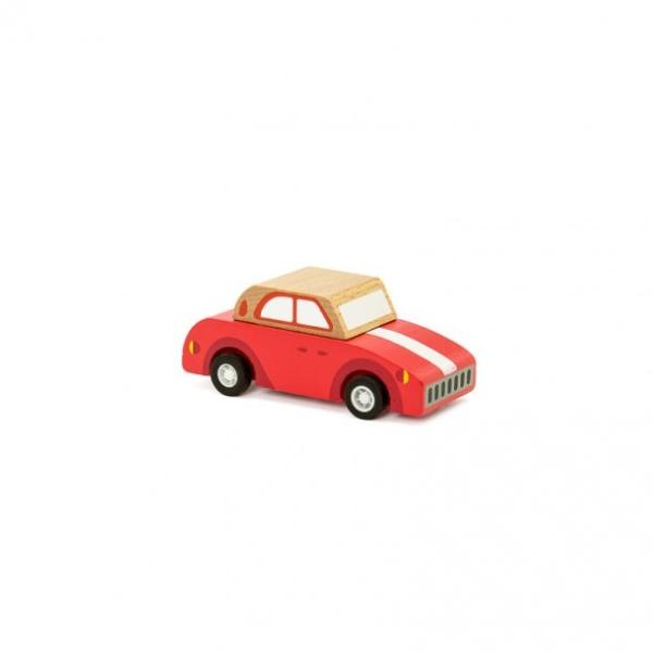 Pull back vintagebil i trä - röd