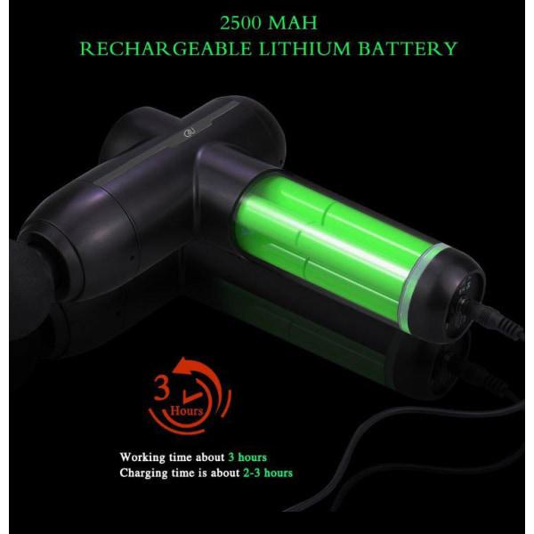 2020 C4U® Massagepistol ProHeat Värme 5 speed 8st massagehuvuden Svart