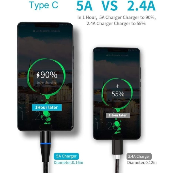 3i1 Magnetisk laddkabel snabbladdning 3A FastChargeIOS Android Svart