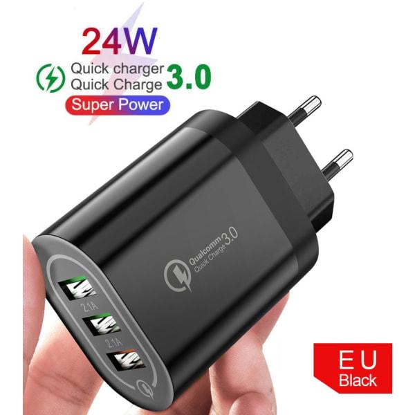 C4U® - 4.8A Väggladdare Kontakt 24W - 3 X usb uttag  Svart