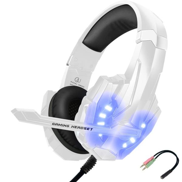 C4U® Gaming headset hörlurar G9000 Mic för Playstation 4 / Ps5 P Vit