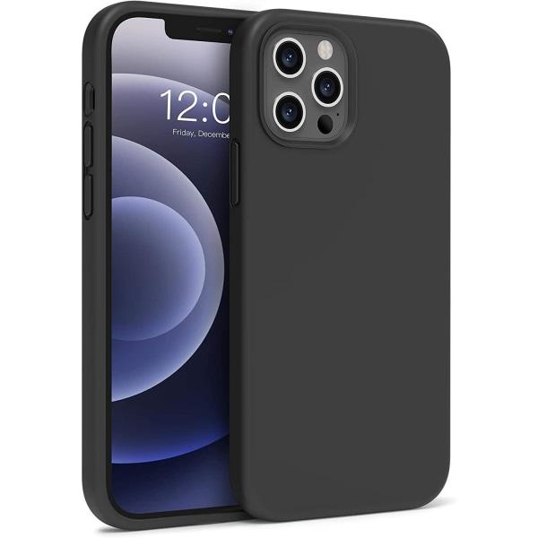 C4U® iPhone 12 12 Pro Matt-Series Liquid Silikon Matt Svart skal Svart