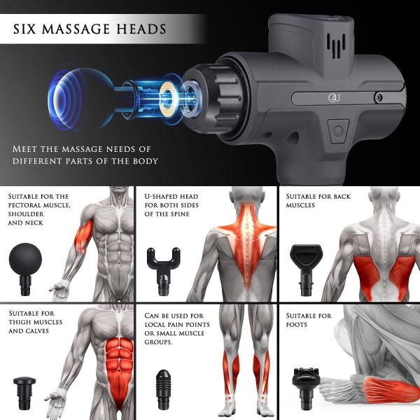 C4U® Massagepistol LCD Touch skärm 30 olika lägen 6st munstycken Svart