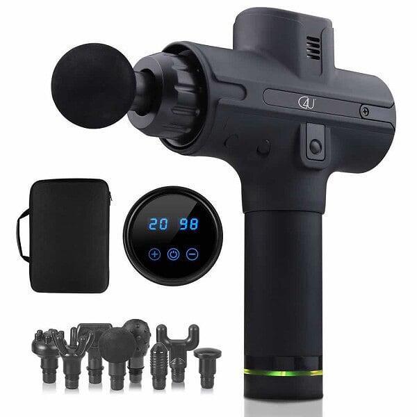 C4U® Massagepistol med LCD Touch skärm 20 lägen 8st munstycken Svart