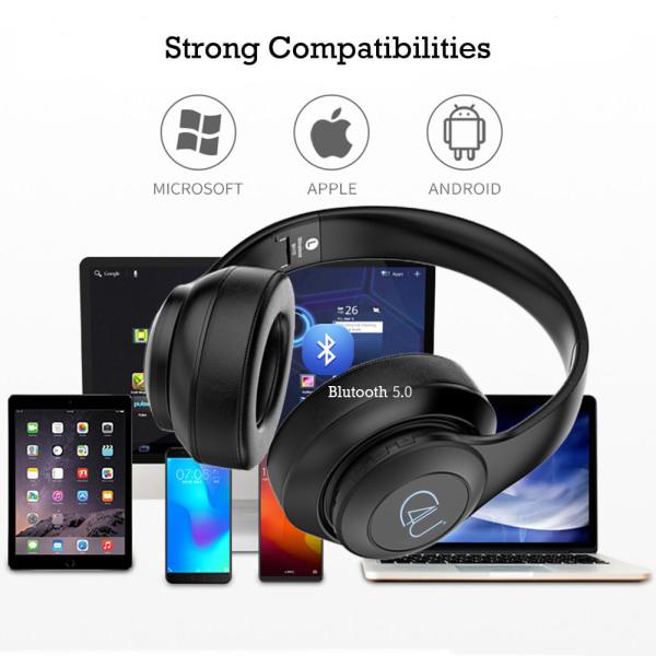 C4U® Trådlösa Bluetooth Hörlurar med LED samt Mic BH10 17timmar Svart