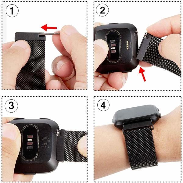 Fitbit Versa 1 / 2 armband milanesisk loop Svart Black
