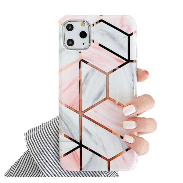 Marmor skal för iPhone 11 Pro Max - Lyx Marble / Rosa C4U® Pink AirPods