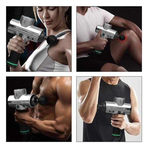 Massagepistol med LCD Touch skärm 9 olika lägen 8st munstycken Silver