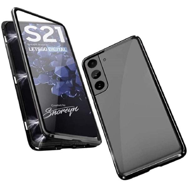 Premium Galaxy S21 Stötdämpande magnet Skal med glas C4U® Black Galaxy S21