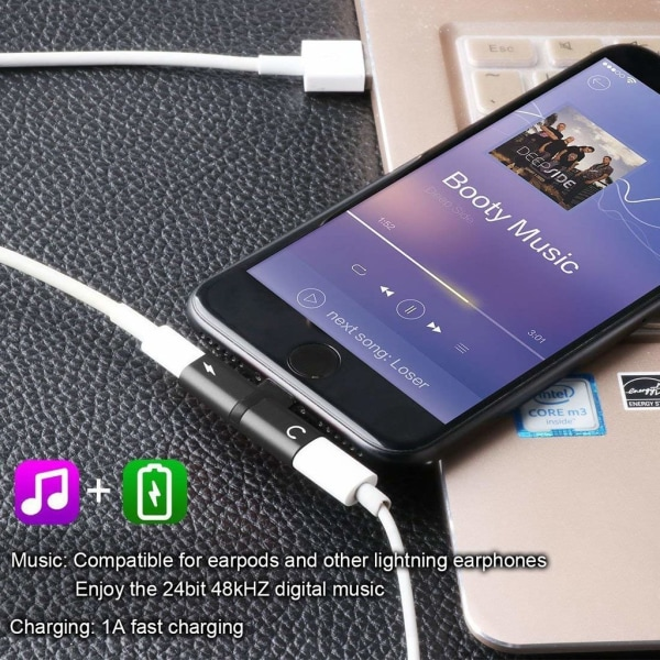 Splitter för iPhone 11 / iPhone 11 Pro  mfl lyssna & ladda samti Black
