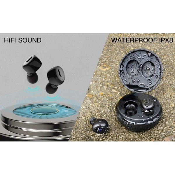Vattentäta Bluetooth Hörlurar - Laddbox 28 timmar C4U® - X300  Svart