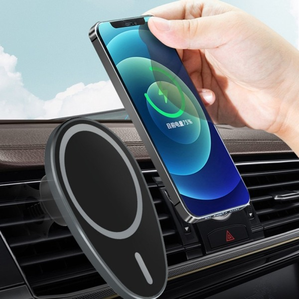 15W Magnetic Wireless Charger Car Mount for iPhone 12 Pro Max White