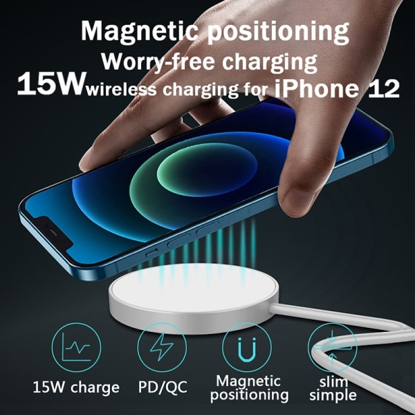 15W Magnetic Wireless Fast charging For IPhone 12 Pro Chargers as shown W