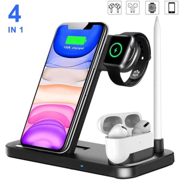 4 In 1 Wireless Charger 15W Charging Station Apple Watch iPhone Black