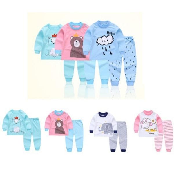 Autumn Newborn Long-Sleeved Clothes Set Shoulder Long-Sleeved Sky Blue 3T
