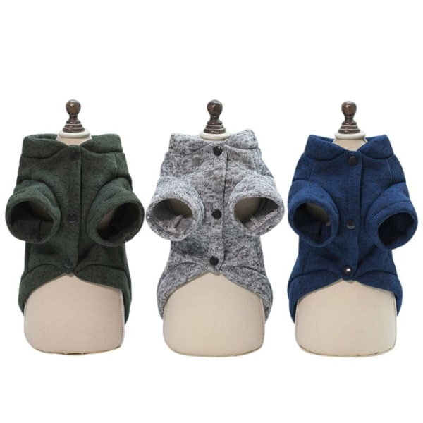 Autumn Winter Models Fish Bone Sweater Pet Clothes Cotton Pet Gray S