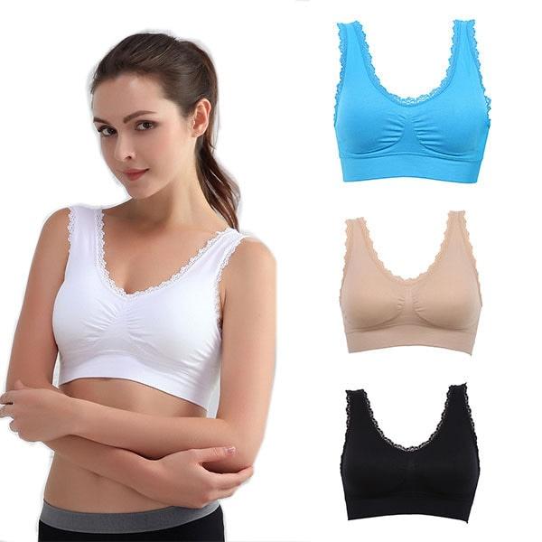 Casual Kvinnor Solid spets Fitness BH vadderad bh stretch väst