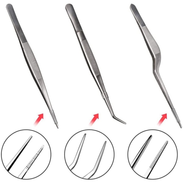 Cooking Tweezers Precision Tongs With Precision Serrated Tips 3 pcs