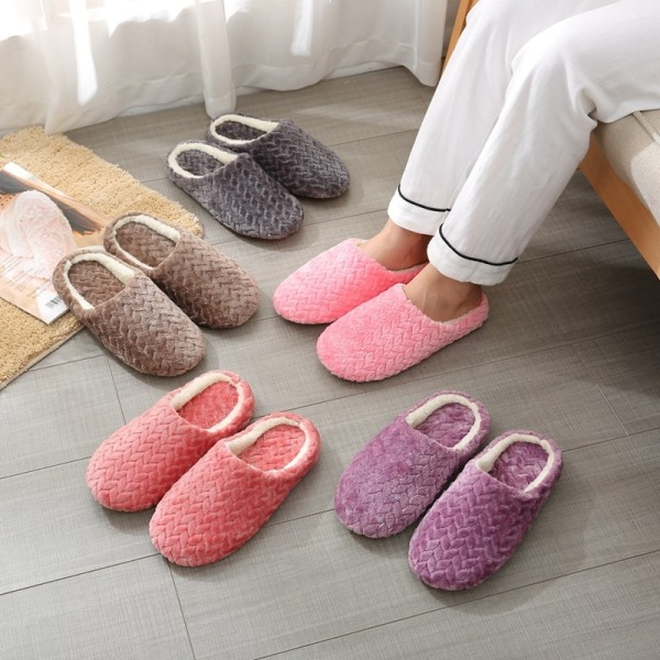 Cotton Slippers Non-slip Slippers Soft Indoor Bedroom Shoes DH M