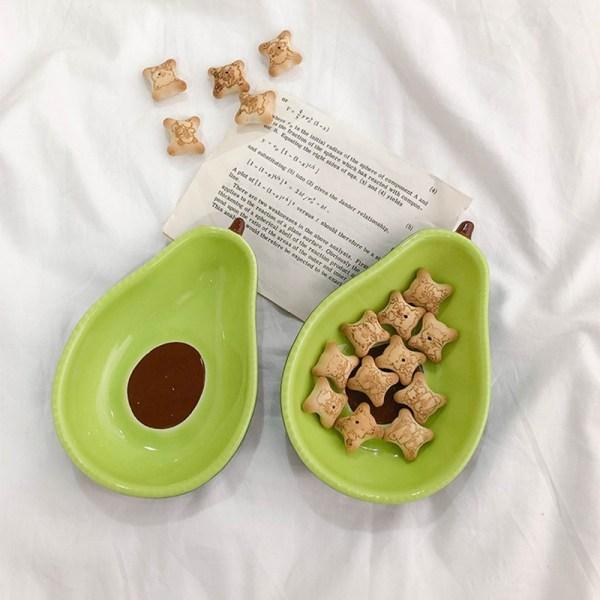 Cute Avocado Glaze Color Ceramic Dish Snack Fruit Salad Bowl A