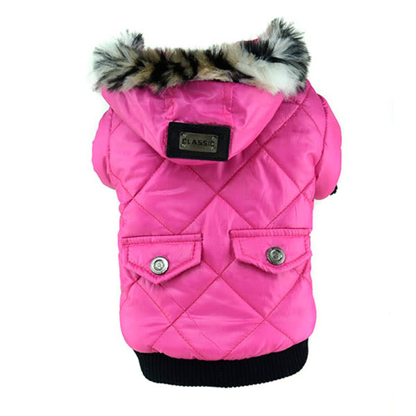 Cute Warm Coats Dog Clothing Pet Faux Pockets Fur Trimmed Dog Pink S