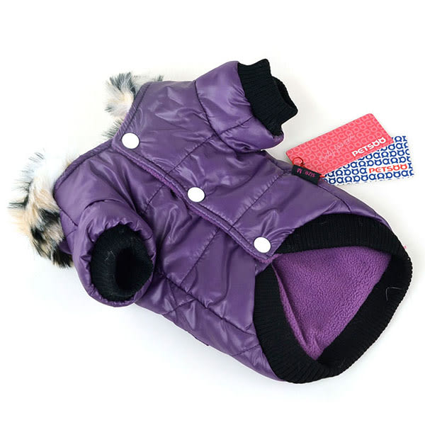 Cute Warm Coats Dog Clothing Pet Faux Pockets Fur Trimmed Dog Purple XXL
