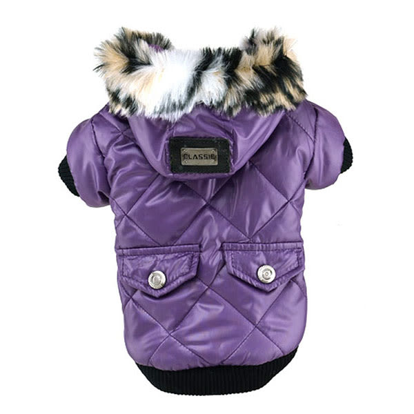Cute Warm Coats Dog Clothing Pet Faux Pockets Fur Trimmed Dog Purple XL