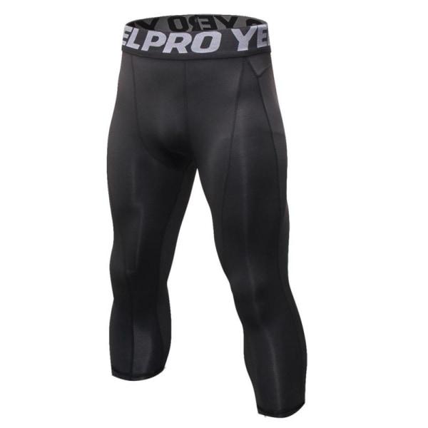 elastic men pants fitness joggers tights pants leggings wear Black S