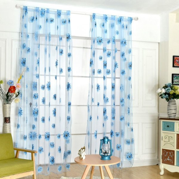 Floral Pattern Tulle Door Curtain Yarn Curtain Flocked Luxury Yellow See below for size
