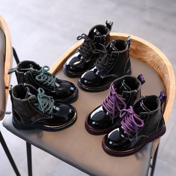 Barnläderkängor Flickaskor Vårhöst PU läderkänga