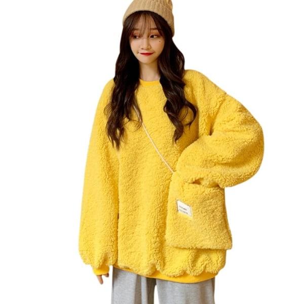 Ladies Lamb Wool Hoodies Loose Long Sleeve Cute Women Hoodies Yellow M