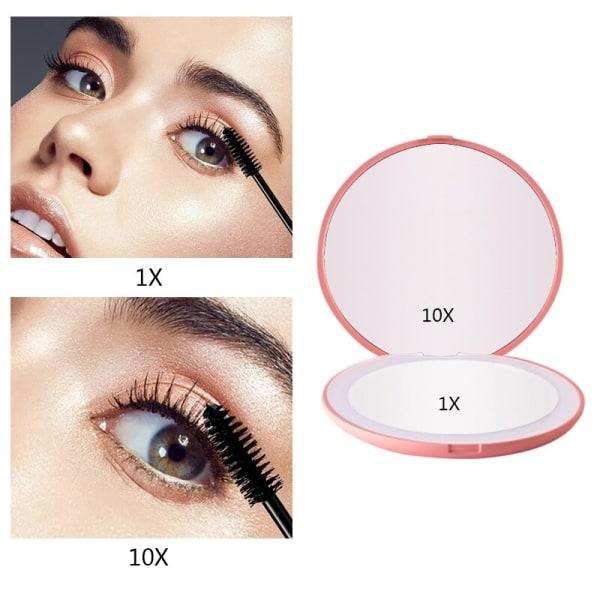 Led makeup mirror fill lens folding mirror magnification 10X Pink