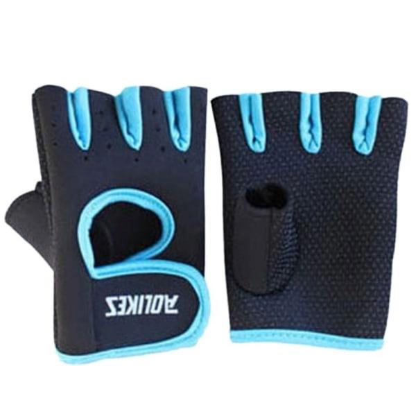 Men Women Half Finger Motorcycle Racing Gloves Cycling Gloves Blue L