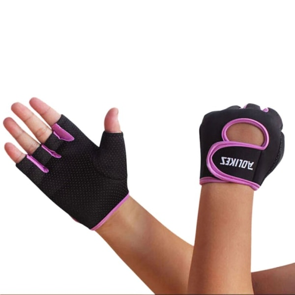 Men Women Half Finger Motorcycle Racing Gloves Cycling Gloves Purple S