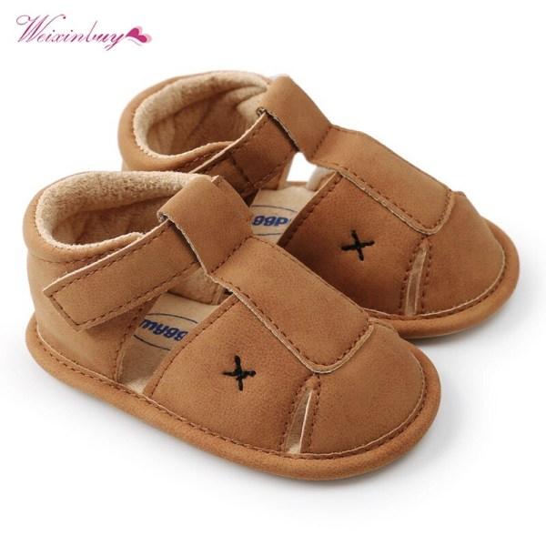 Nyfödda baby pojkar sandal skor PU läder barn schoenen mjuk