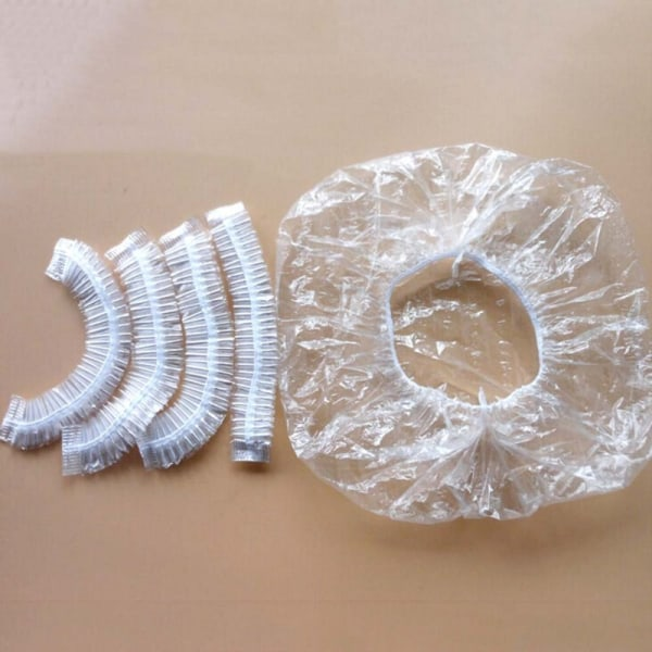Shower Cap Disposable Caps Hats Single Use Plastic Cap 100Pcs Clear