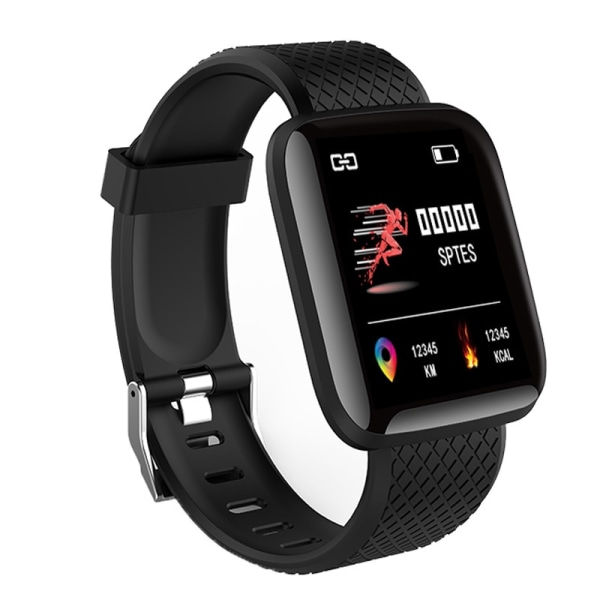 Smart Watch Fitness Tracker Dynamic Heart Rate Pedometer Black