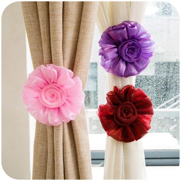 1 / 2st Clip-on Rose Flower Window Curtain Holdbacks Tie Back Ho