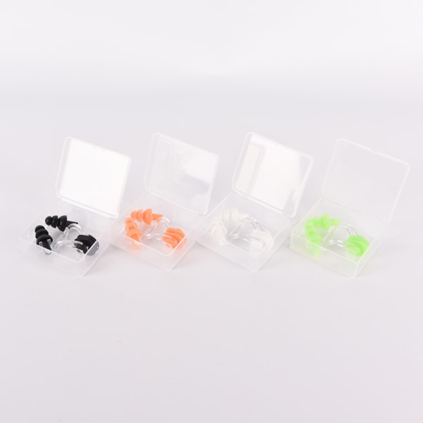 1 set Vattentät mjukt silikonbadset Näsklämma + öronplu
