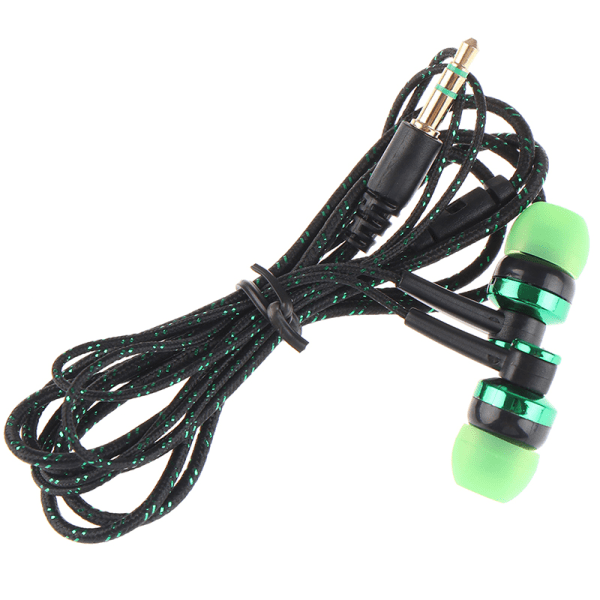 1 st högkvalitativ kabelansluten hörlurar stereo in-ear 3,5 mm nylonväv